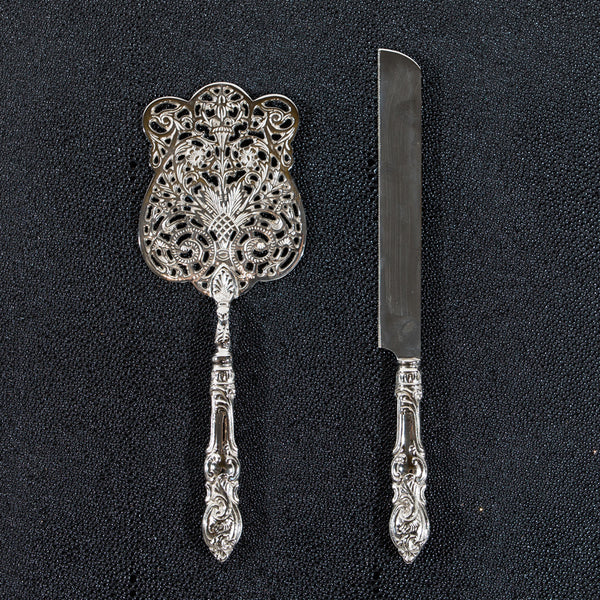Heritage Cake Server & Knife - Silver Plated