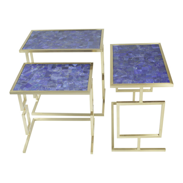 Set of all 3 pieces Lapis Lazuli nesting tables