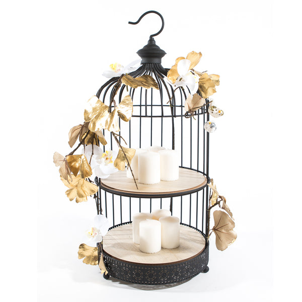 Large 2 tier Black Bird Cage with Orchids & Gold Petals - Large