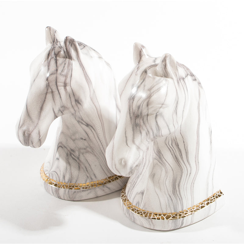 Le Faux Marble Cheval Bookend