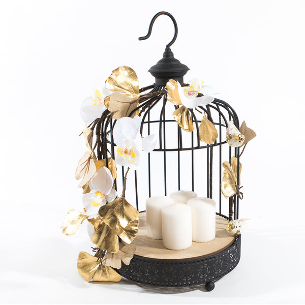 Medium Black Bird Cage with Orchids & Gold Petals - Medium