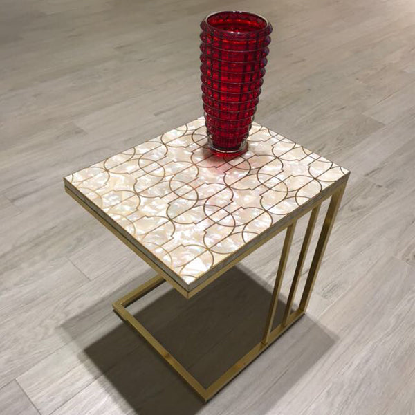 Mother of Pearl Peg Table w/ Gold Legs