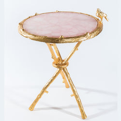 Pink Quartz w/ Gold Bird Round Table