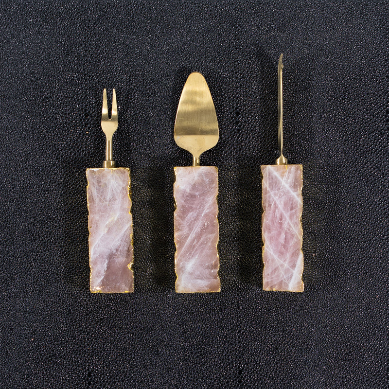 Rose Quartz 3 pc Cheese knives set