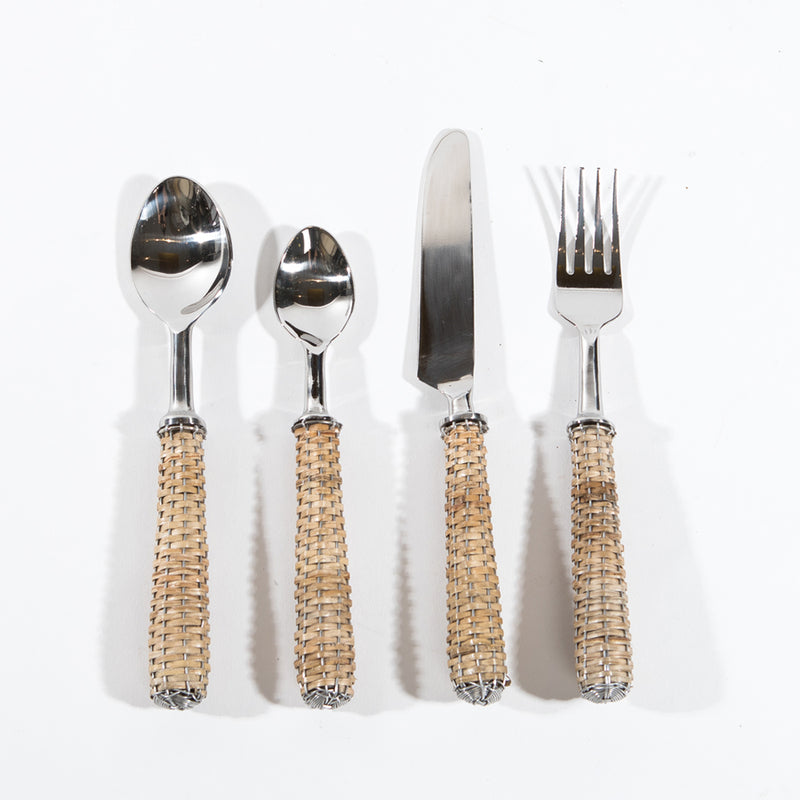 4 pc Rattan Cutlery set