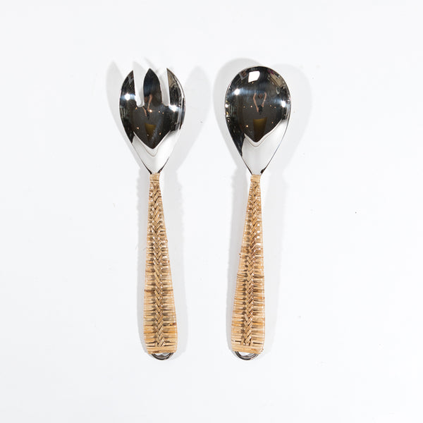 2 pc Rattan Salad Server set
