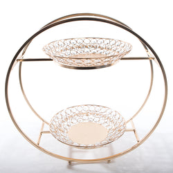 Round Frame 2 Tier Crystal Plates - Gold Plated