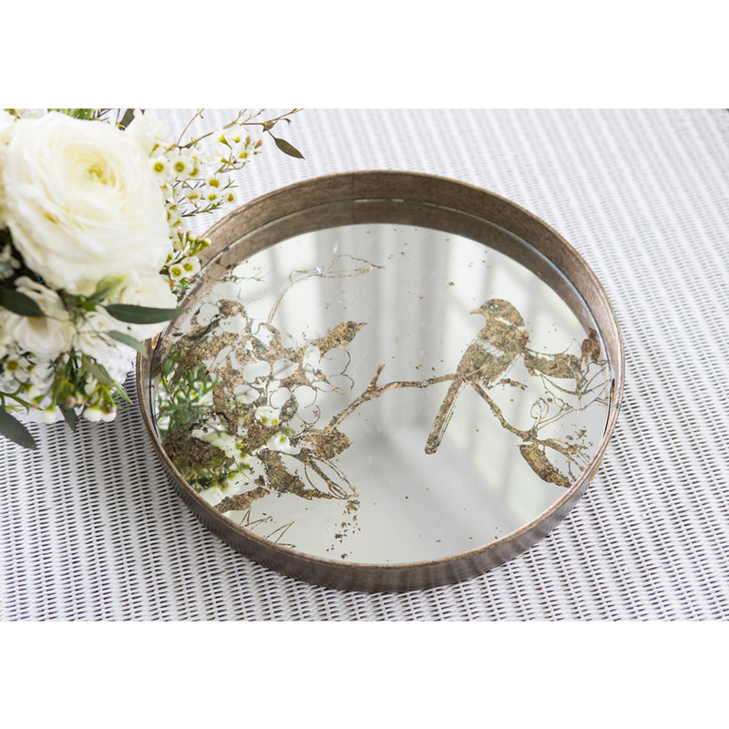 Rustic Mirrored Top Tray