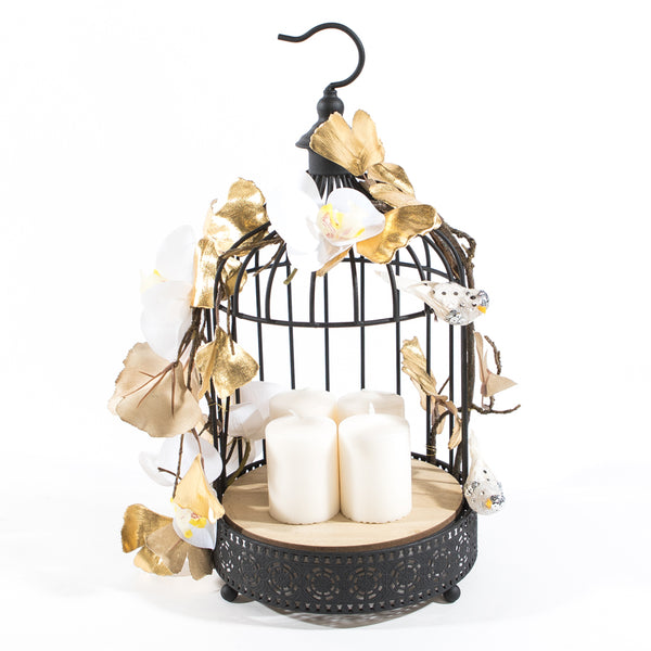 Small size Black Bird Cage with Orchids & Gold Petals -