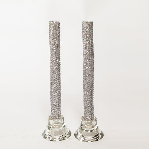 Glitter Candles - Silver