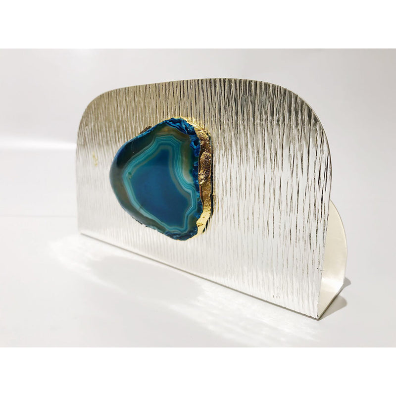 Blue Agate Silver plated  Napkin holder