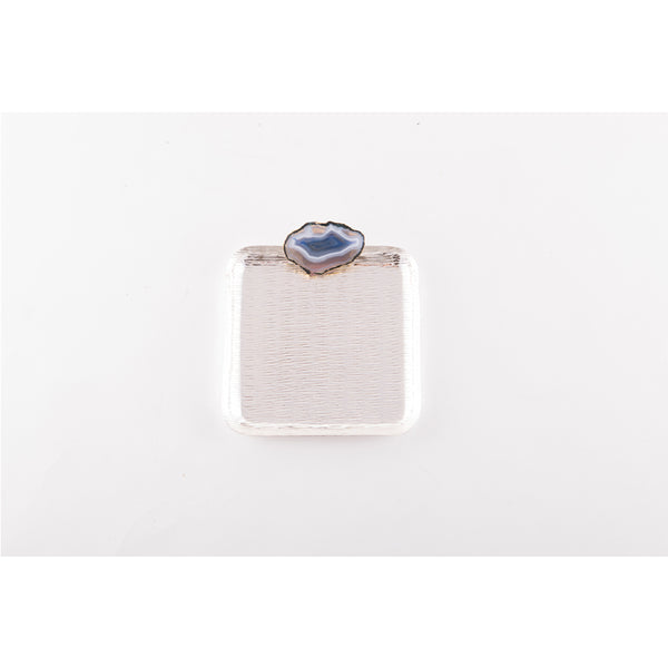 Blue Agate Silver Square Tray