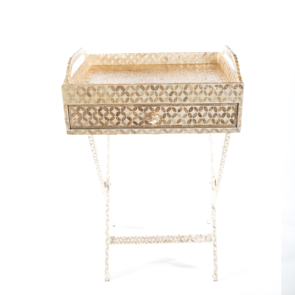 CAPIZ SHELL TEA CHEST WITH STAND HONEYCOMB WHITE - LARGE