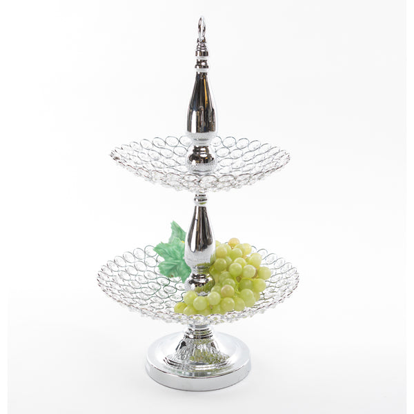 Crystal 2 Tiered Crystal Decor Stand w/ Top Hoop - Silver