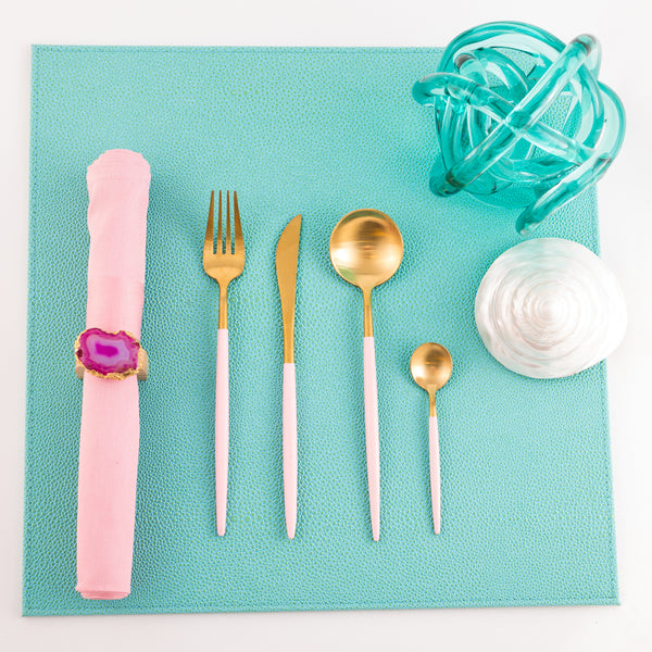 Cutlery in Box - Gold & Pink (set of 4)
