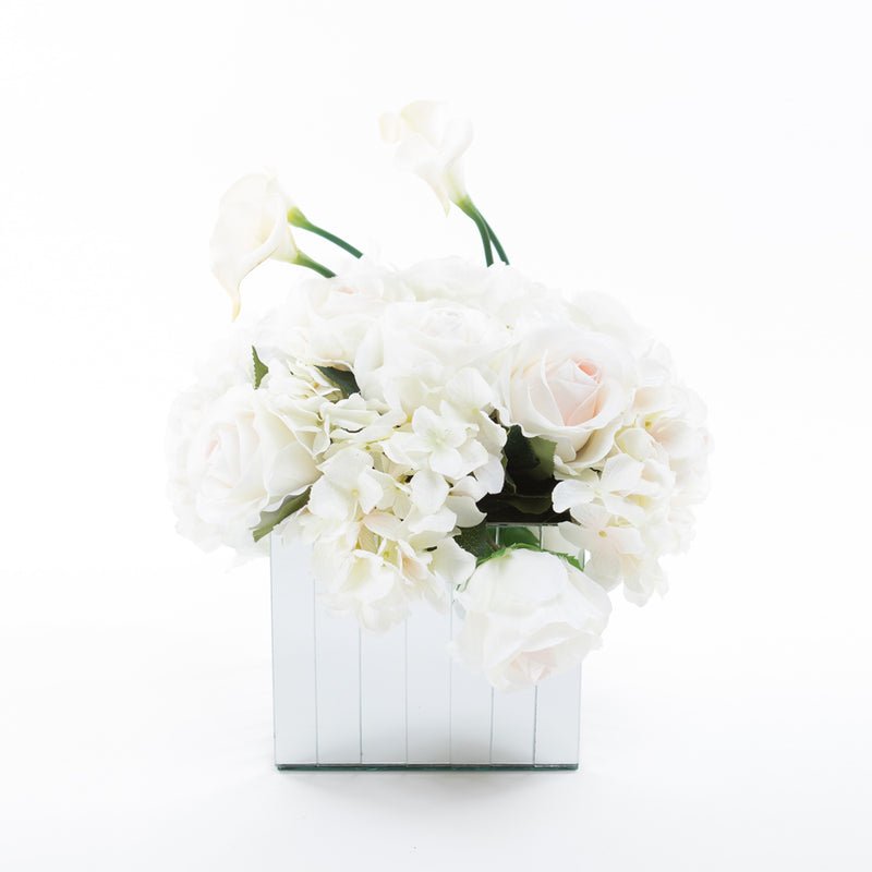 Flowers on Large Mirror Pedestals - White