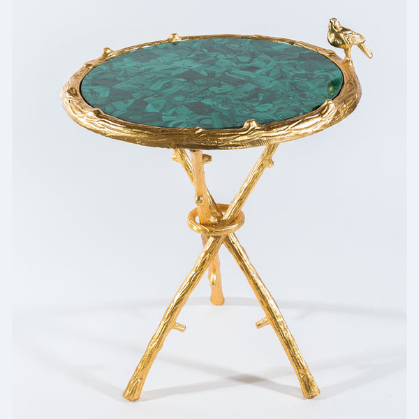 Malachite w/ Gold Bird Round Table