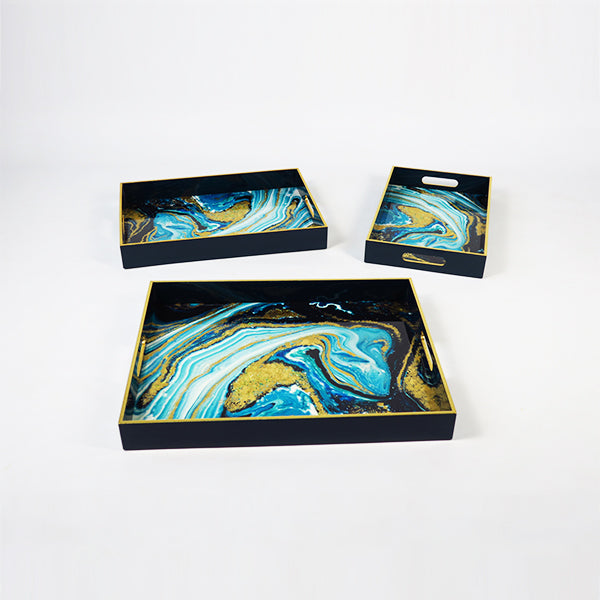 High Gloss Lacquered Serving Tray Black w/ Wavy Green design (set of 3 LMS)