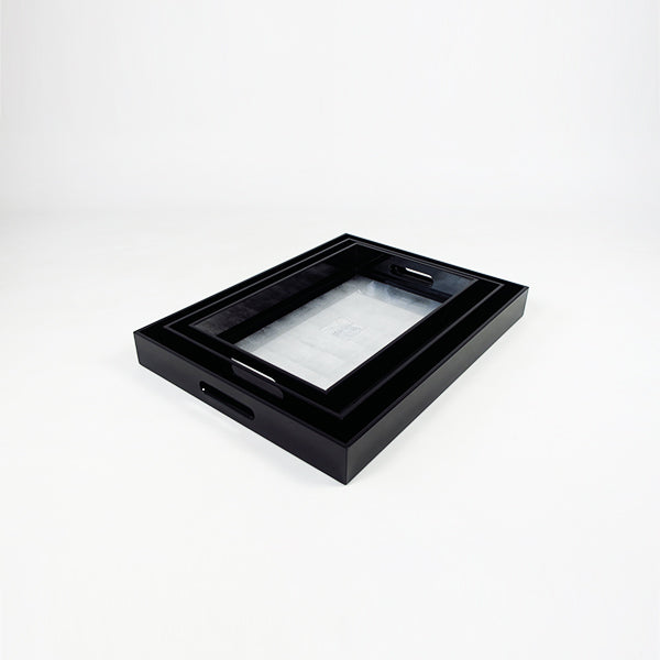 High Gloss Lacquered Serving Tray Black, Silver & Eggshell (set of 3 LMS)