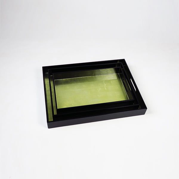 High Gloss Lacquered Serving Tray Champagne Base & Black (set of 3 LMS)