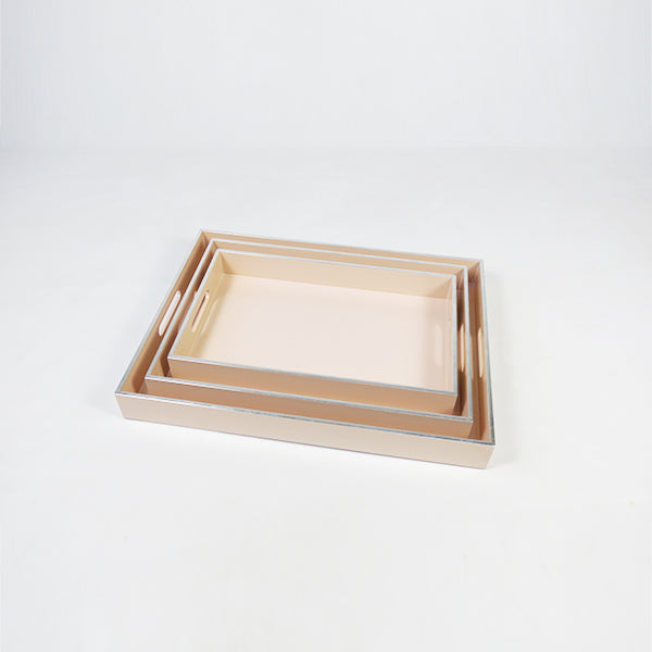 High Gloss Lacquered Serving Tray Peach (set of 3 LMS)