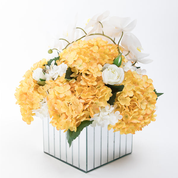 Yellow Hydrangea Flowers in a Large Mirror Pedestals