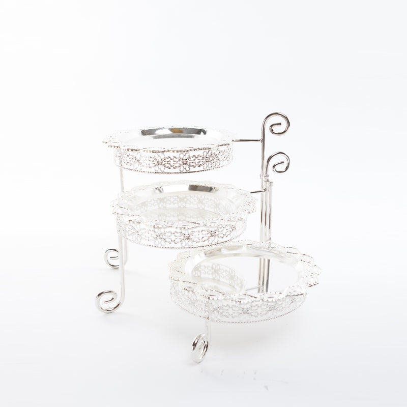 Foldable 3 Tiered Cake Tray - Silver Plated