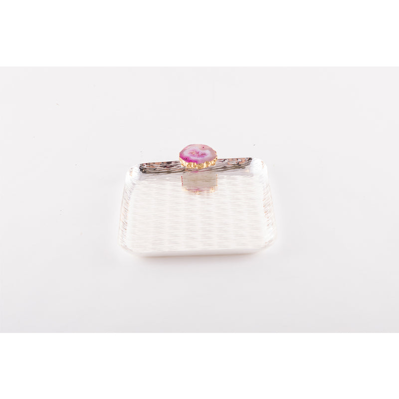 Pink Agate Silver plated large Square Tray
