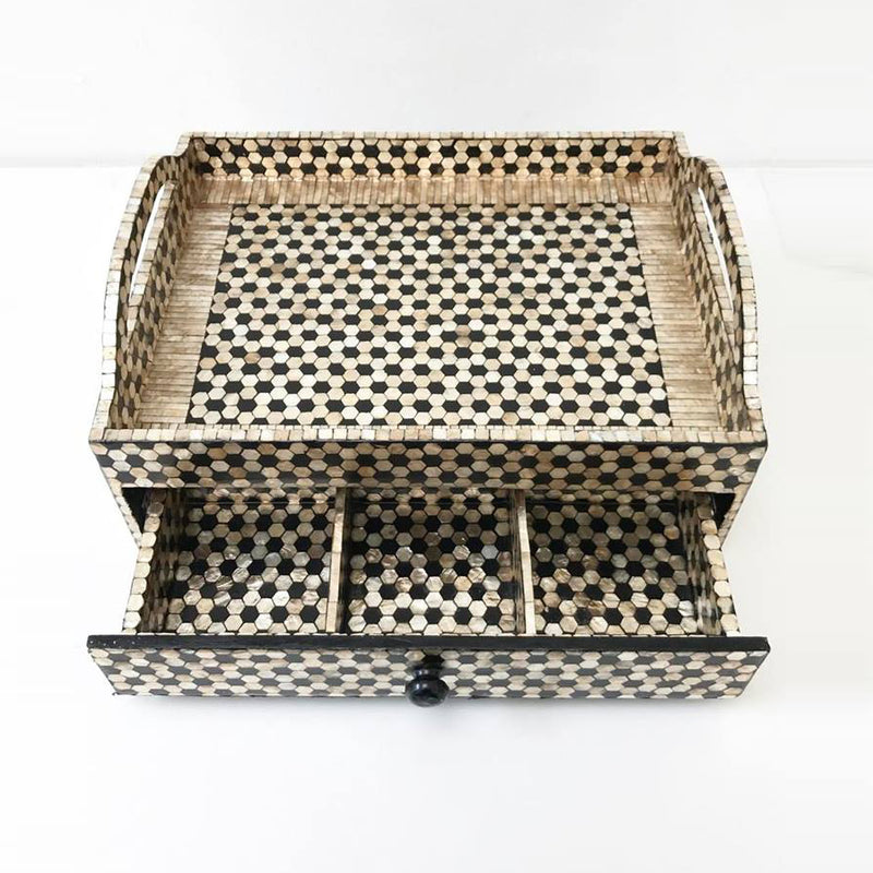 CAPIZ SHELL TEA CHEST W/ DRAWER - HEXAGON BLACK