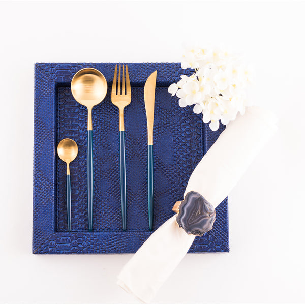 Cutlery in Box - Gold & Blue (set of 4)