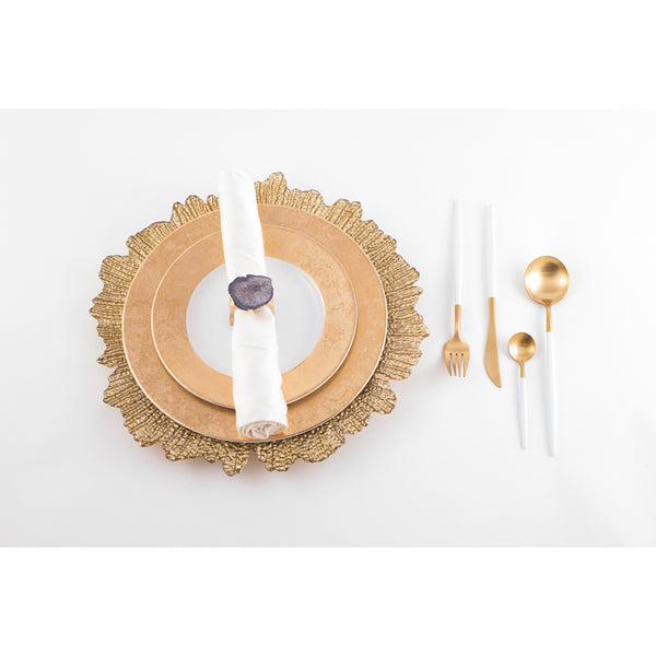 Cutlery in Box - Gold & White (set of 4)