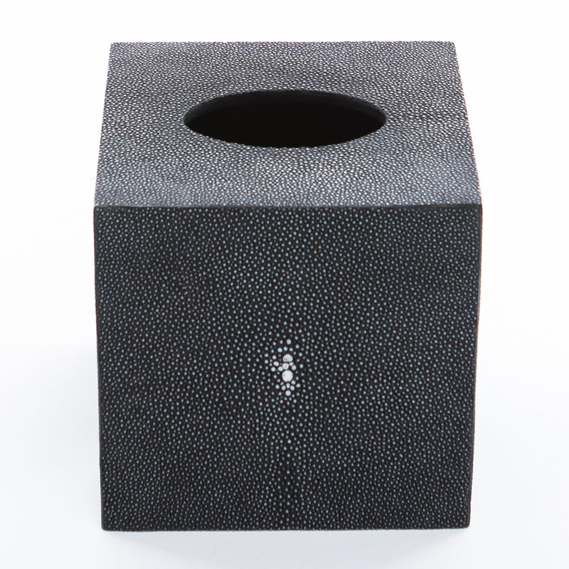Faux Shagreen Tissue Box - Charcoal