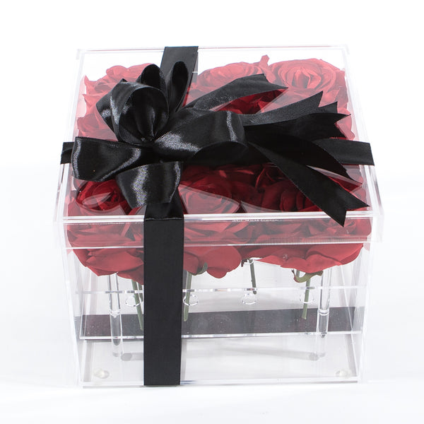 16 Stalks Of Roses In Acrylic Box - Red