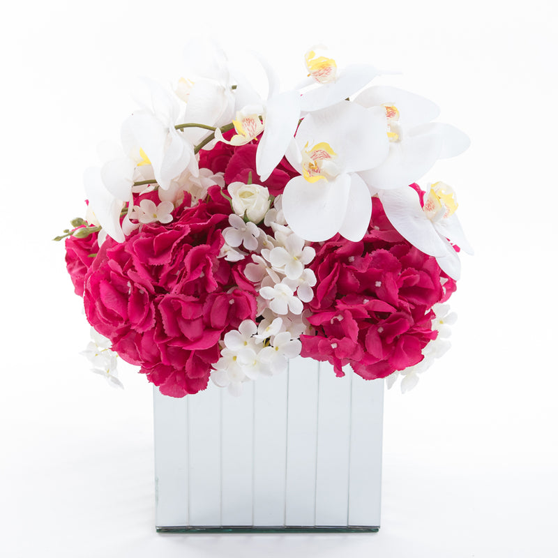 Flowers on Large Mirror Pedestals - Fuschia