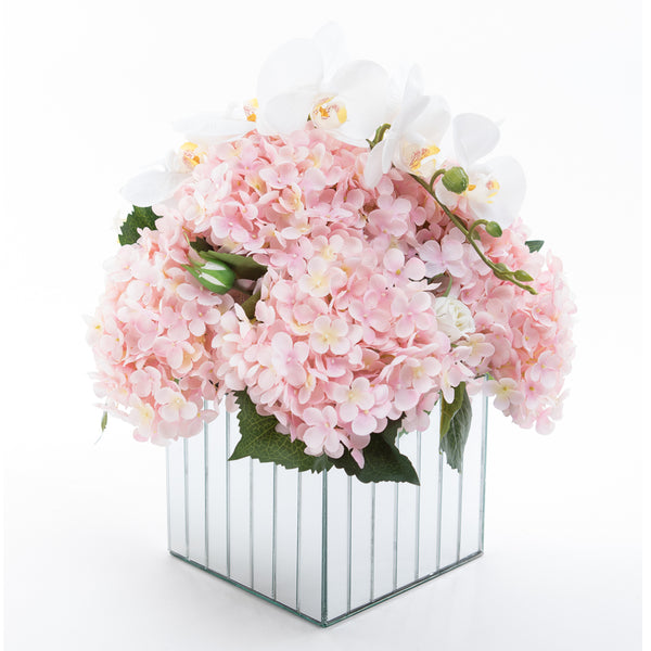 Flowers on Large Mirror Pedestals - Pastel Pink