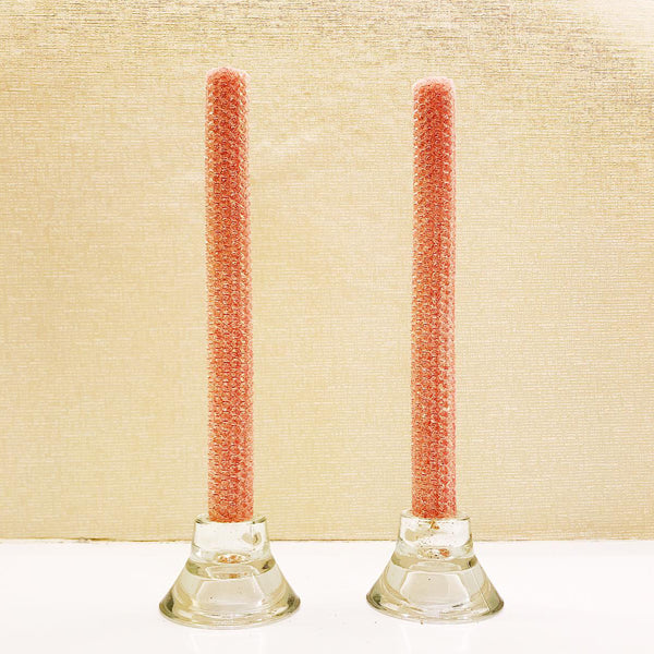 Glitter Candles - Salmon