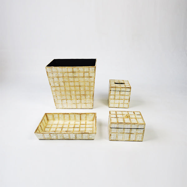 CAPIZ SHELL VANITY SET - SQUARE WHITE
