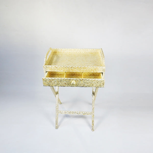 CAPIZ SHELL TEA CHEST WITH STAND FLOWER WHITE - LARGE