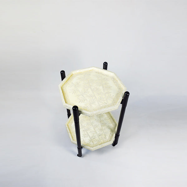 Foldable 2 Tier Trolley w/ Octagon cream white bamboo Trays - Cream