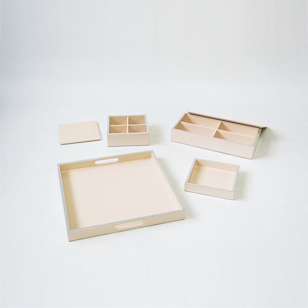 Stationary Set of 4 Combo Trays & Boxes Peach