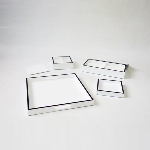Stationary Set of 4 Combo Trays & Boxes White w/Black Border