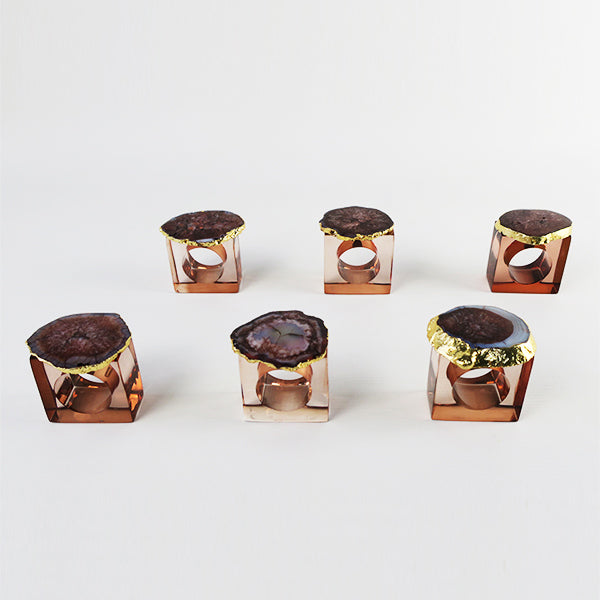 Acrylic Napkin Ring Box (set of 6) - Brown