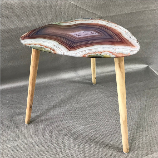 Agate Print Glass Table - Gold