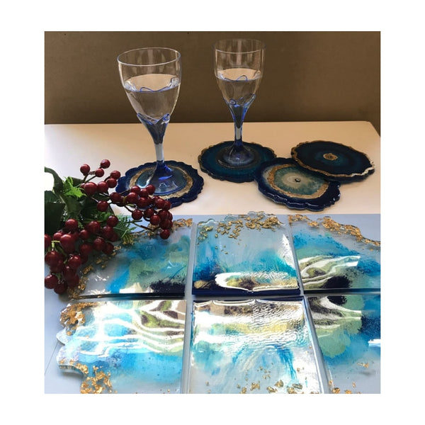 Resin Evil Eye Coasters BLUE (Set of 4)