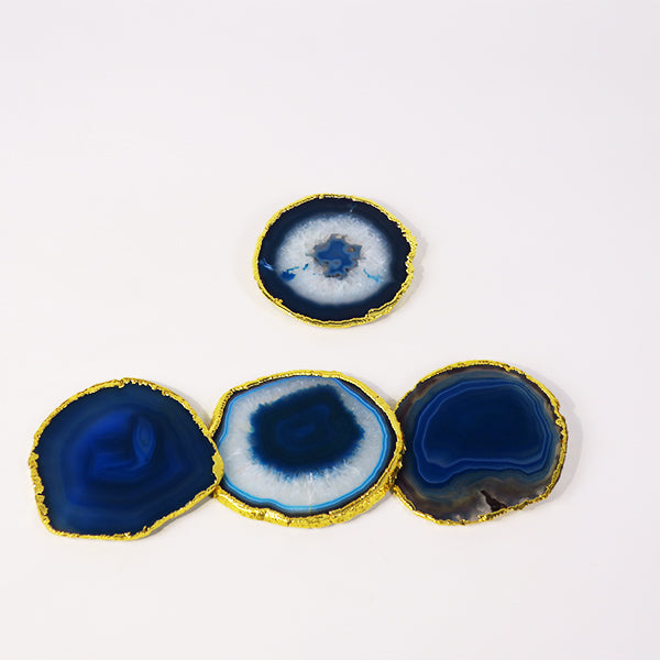 Blue Agate Coaster w/ gold rim (set of 4)
