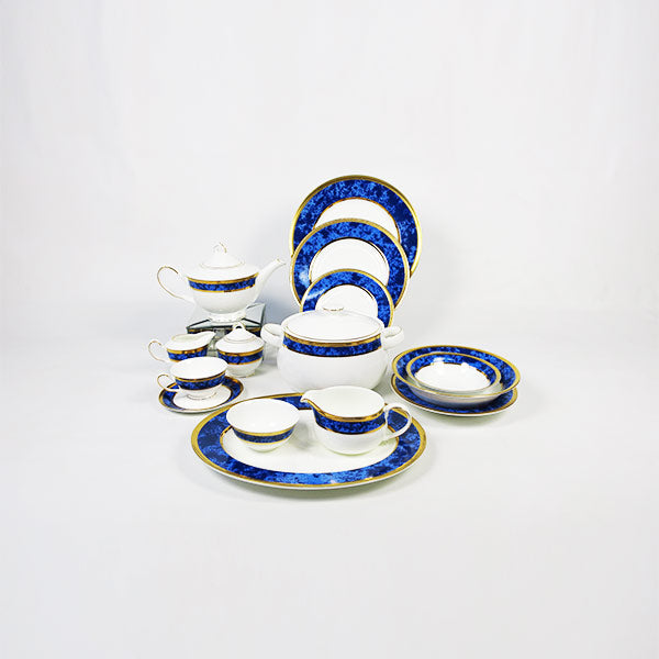 BLUE MARBLE  51 pc Crockery set