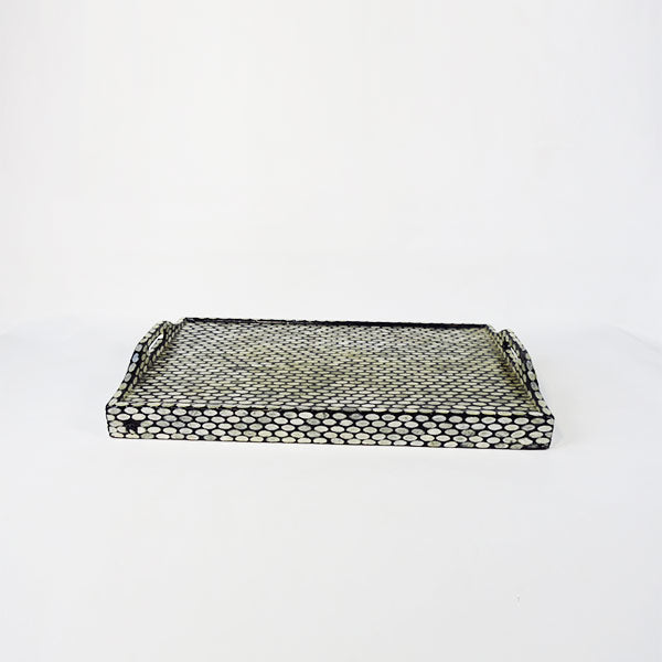 Capiz Bed & Breakfast Folding Trayble-Oval Black Silver