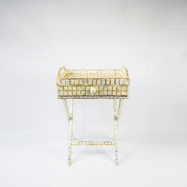CAPIZ SHELL TEA CHEST WITH STAND SQUARE WHITE - LARGE