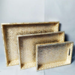 Capiz Rectangular Trays - Flower White