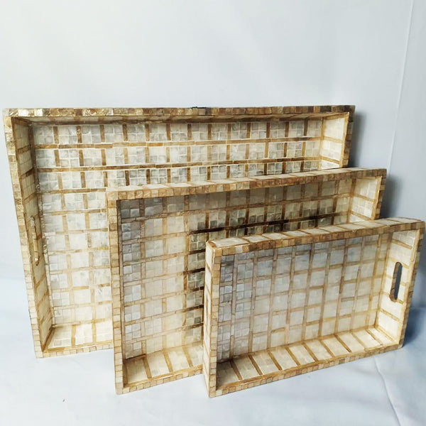 Capiz Rectangular Trays - Square White